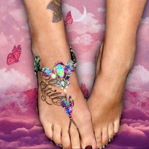 "White/Iridescent ""Proudly Extra"" Jeweled Anklet"
